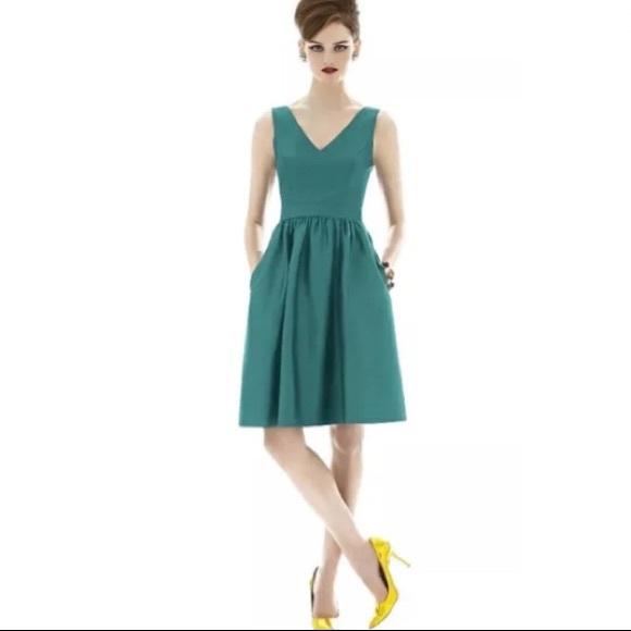 Alfred Sung Dresses   6 Peau De Soie Short Dress Green   Poshmark